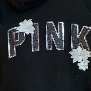 Pink Silver Sparkly and Floral Hoodie